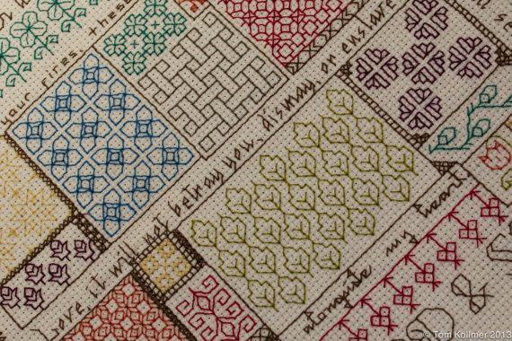 I love this sampler. Just looking at it makes me happy. I love the style of blackwork embroidery and love it even more in bright colors.
