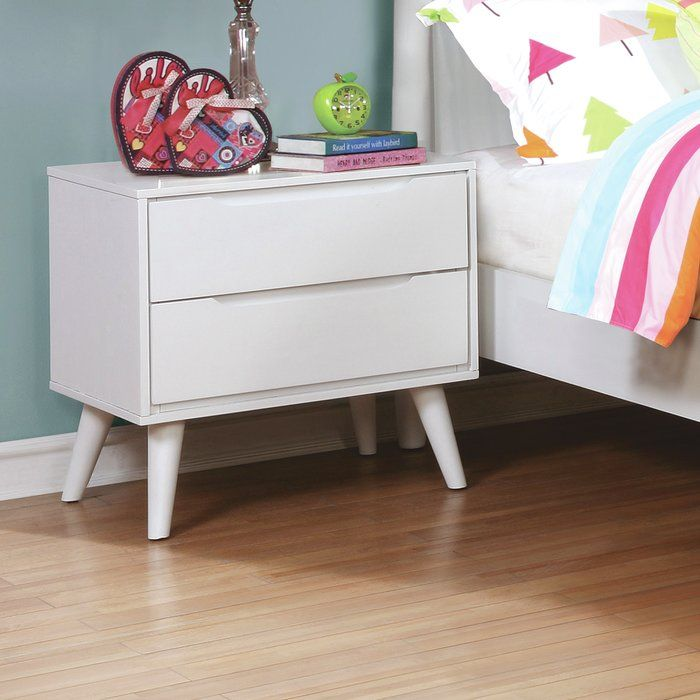 An innovative design with a refined appearance, this nightstand is a chic mid-century modern fixture sure to simplify your bedroom storage situation. Between the two drawers with cut-out drawer pulls and the spacious tabletop, this piece offers ample room for your bedside necessities. This nightstand is supported atop sophisticated angled and tapered legs.