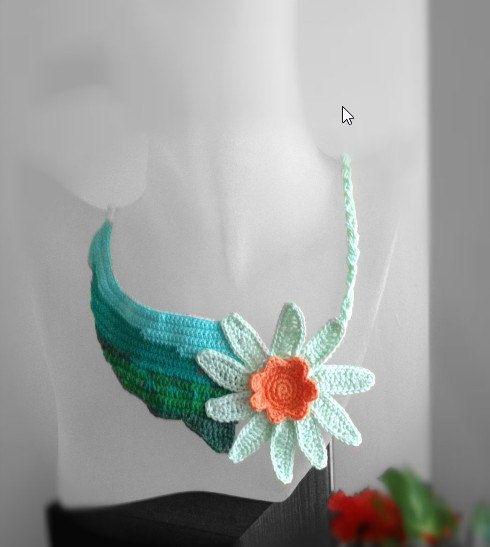 Free form crochet necklace Last flower on the by FiBreRomance