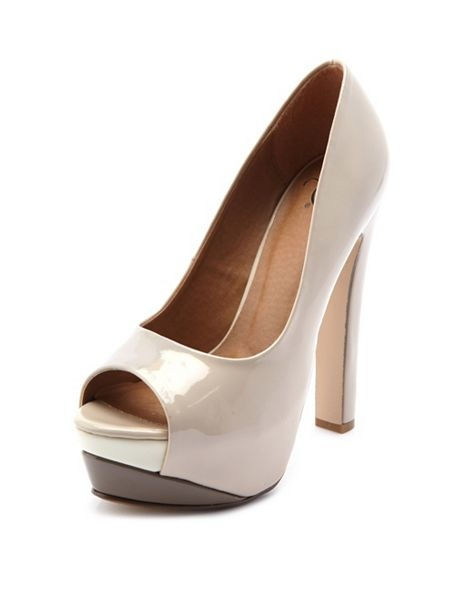 Patent Color Block Peep Toe Pump: Charlotte Russe