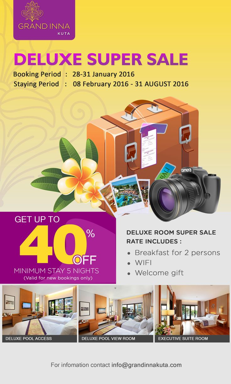 Deluxe Super Sale is happening until tomorrow! Grab fast your favorite rooms now or never! Like our page on Facebook to get the booking link https://www.facebook.com/grandinnakuta