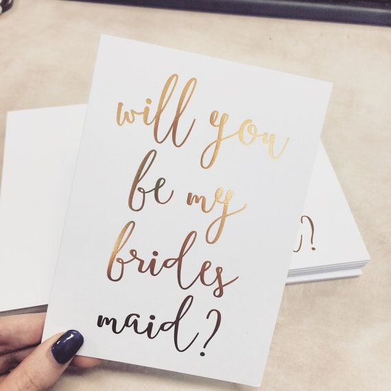 Gold foil Cards Will you be my bridesmaid card by HangingWillow