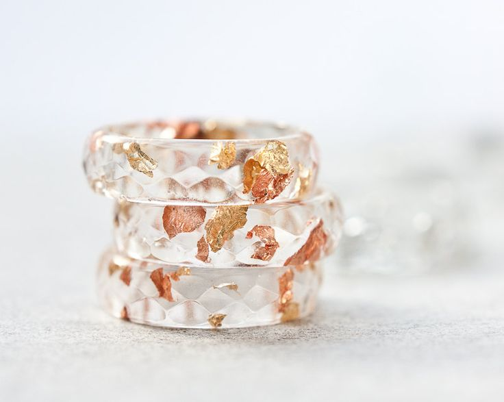 Resin Ring Yellow Pink Gold Flakes Small Faceted Ring OOAK boho minimalist jewelry rusteam. €21.00, via Etsy.
