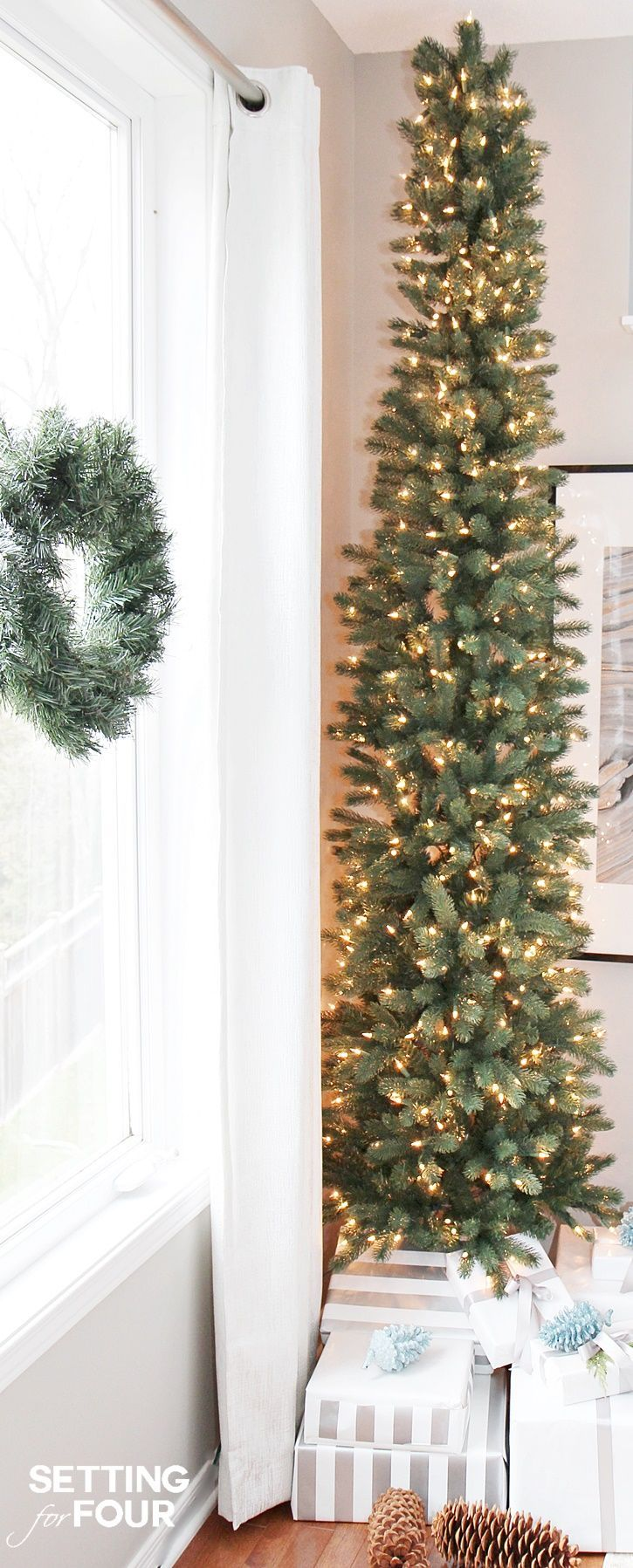 See how you can decorate any narrow spot in your home with a PENCIL CHRISTMAS…