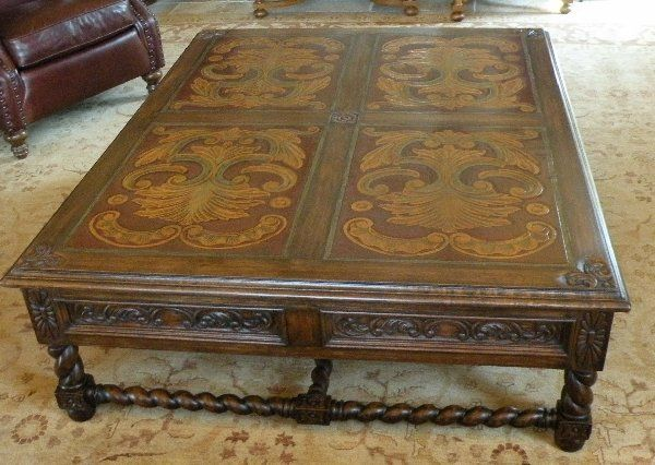 Italianate Coffee Table with Hand Carved leather panels and polychrome.  Spanish Style, Spanish Colonial ... - 17 Best Spanish Colonial Mediterranean Images On Pinterest