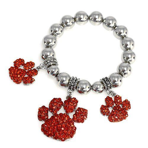 Fashion Charm Bracelet ; Silver Metal; Paw Dangle Charms; Red Rhinestones; Eileen's Collection. $24.99