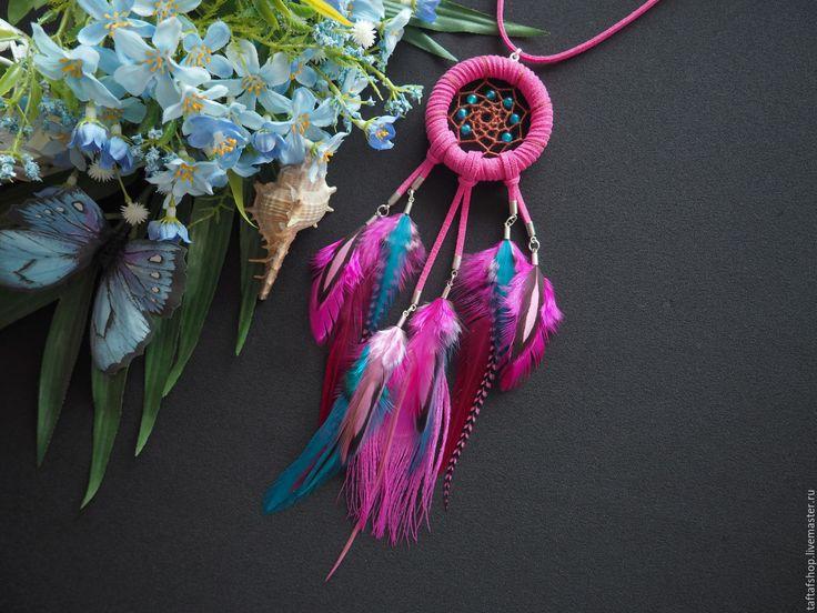 Яркая фиеста - розово-бирюзовый кулон ловец снов с перьями - перья, перо, бохо
