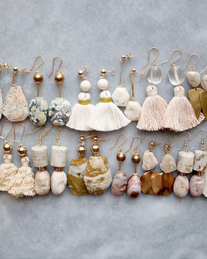 Ocean jasper, marble and moonstone earrings