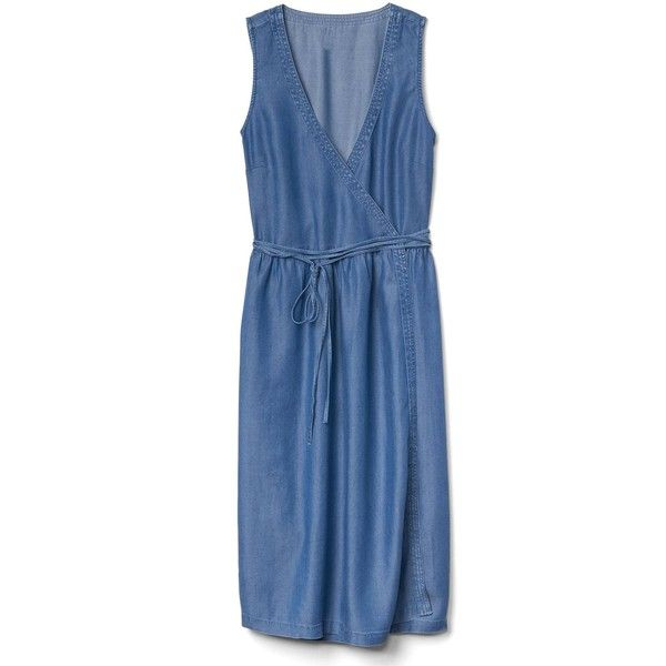 Gap Women Denim Sleeveless Wrap Dress ($70) ❤ liked on Polyvore featuring dresses, medium indigo, tall, gap dresses, blue midi dress, wrap tie dress, blue dress and tall dresses