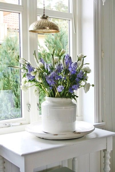 Farmhouse Fresh*White Table, Windows, Walls, Beautiful Flowers in Large White Ceramic Container<3