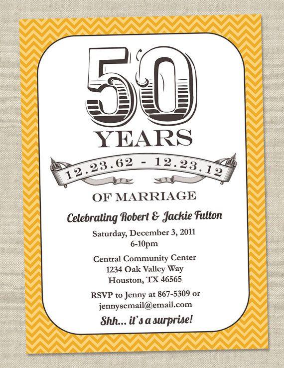 50th Anniversary Invitation - Gold Golden Vintage ...