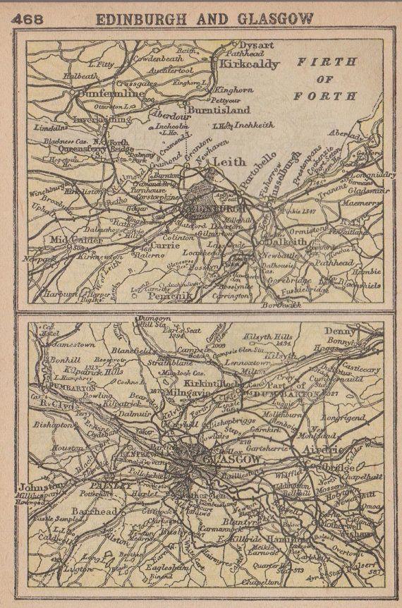 RARE Antique EDINBURGH and GLASGOW Map Scotland Miniature 1902 Map