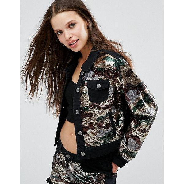 Liquor & Poker Petite Camo Sequin Jacket ($23) ❤ liked on Polyvore featuring outerwear, jackets, green, petite, petite jackets, petite denim jacket, camouflage print jacket, camo print jacket and denim jacket