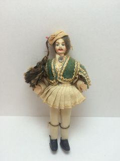 "Opa! This traditional toy Greek doll is in his best dress as a Evzones Tsoliás.  Circa 1960's. Body is hard plastic. Dressed in thin stockings with felt and linen clothing. Measures 4-1/2"" H. Faint wear. 1:12 scale. Condition: Pre-owned, light wear. ALL fingers, hands, and shoes are present."