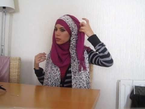 Two hijab tutorials using a flower brooch