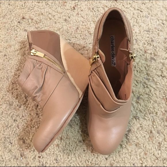 Charles David wedge booties Charles David pink nude leather wedge booties. Size 7.5. Worn few times, great condition. No shoebox included. Charles David Shoes Ankle Boots & Booties