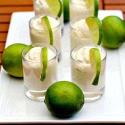 Tahitian Lime Mousse Shooters - A great idea to serve a delicious lime mousse at your next dinner party.