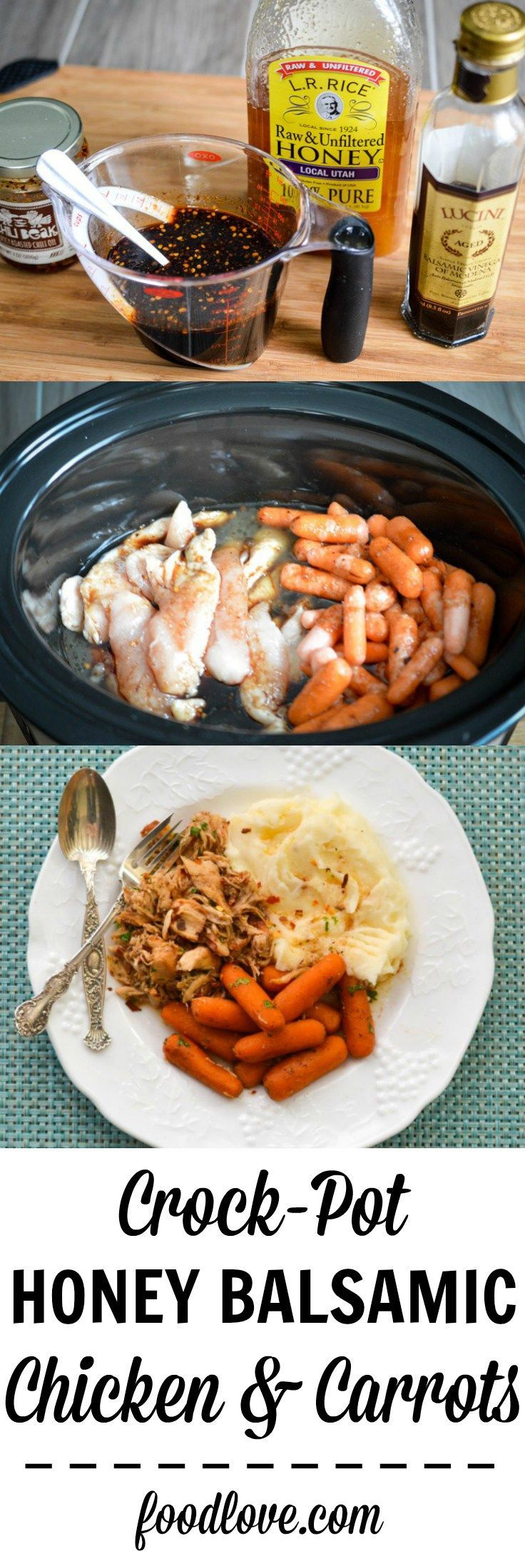 Chicken breasts and carrots get a flavor boost from balsamic vinegar, honey, garlic and chile oil for this simple, tasty crock-pot honey balsamic chicken. (Paleo Chicken Crockpot)