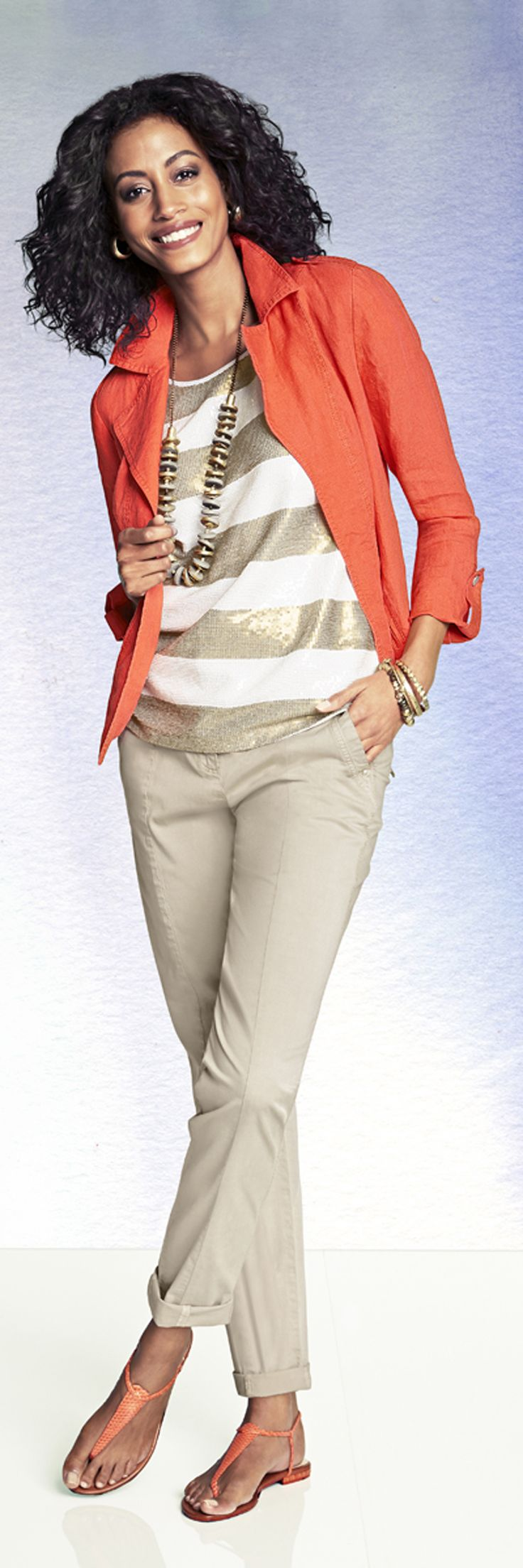 Chico's Linen Moto Jacket paired with the Striped Sequin Shannon Tee