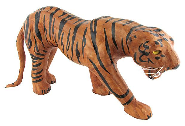 Leather and paper-mache tiger on OneKings Lane