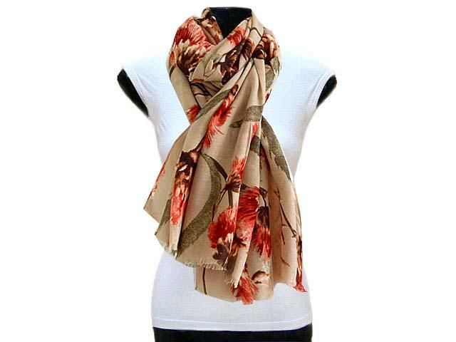 LARGE TAUPE BROWN PINK FLORAL PRINT LIGHTWEIGHT SCARF, £7.99 - A-SHU.CO.UK