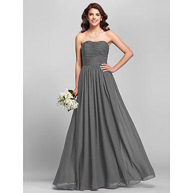 Lanting+Bride®+Μακρύ+Σιφόν+Φόρεμα+Παρανύμφων+-+Γραμμή+Α+Στράπλες+Μεγάλα+Μεγέθη+/+Μικρά+Νούμερα+με+Πλαϊνό+ντραπέ+/+Πλισέ+–+EUR+€+75.26