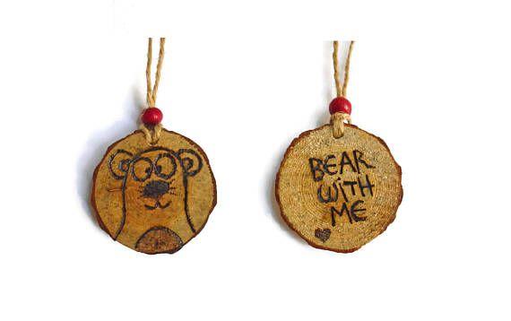 Bear Ornament  Woodland Ornament  Wooden Bear  Bear