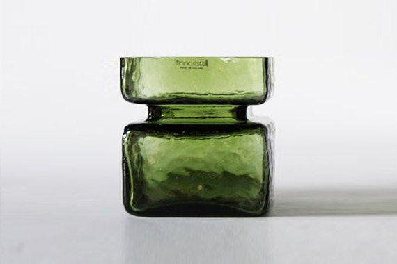 Vintage Green Vase by Helena Tynell Riihimäen Lasi by 1001vintage