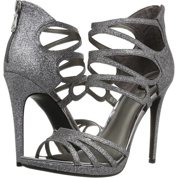 G by GUESS Girrlie (Pewter Glitter) High Heels ($48) ❤ liked on Polyvore featuring shoes, pewter, high heel stilettos, pewter shoes, strappy high heel shoes, strap shoes and stilettos shoes