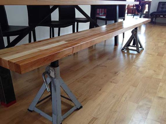 10' Industrial dining table Butcher block top with by MaruModern