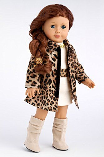 Fashion Girl - Cheetah Coat, Ivory Dress and Ivory Boots - 18 Inch American Girl Doll Clothes
