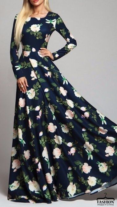 Женственные платья макси с цветочным принтом 7