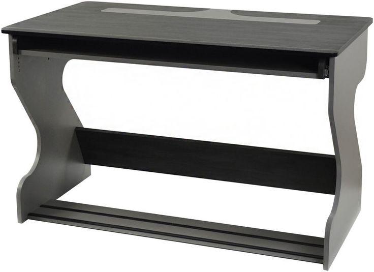 """Zaor Miza Jr grey wenge - 419 € Tiroir rétractable et hauteur ajustable (52 - 172 mm) Seconde hauteur ajustable (19 -147 mm) pour les moniteurs (2x écrans de thomann 24"""" max) Dimensions (LxPxH): 1250 x 700 x 782 mm Surface de travail (LxP): 1250 x 700 mm Tiroir (LxHxP): 1129 x variable x 318 mm"""