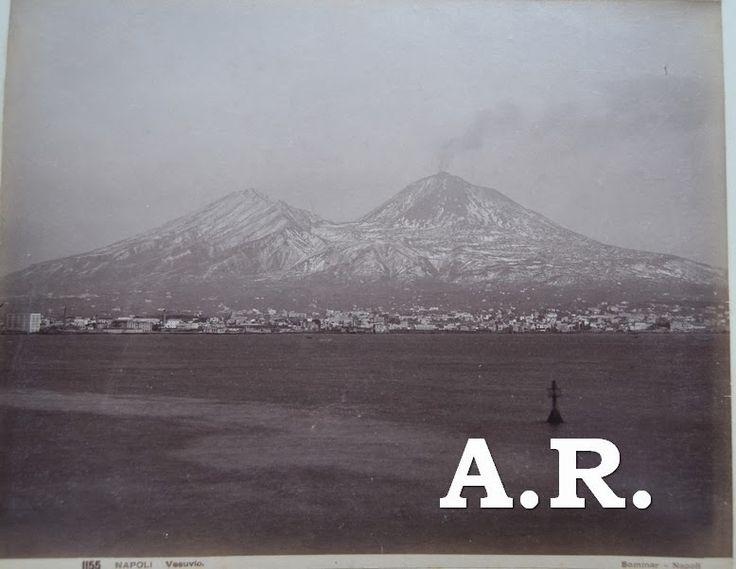 Colección de fotografía antigua: Fotografía Antigua Erupción del Vesubio. Photographer Giorgio Sommer. Vintage albumen photography eruption of Vesuvius