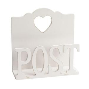 """Post Letter Rack,Shabby chic white wood design. Vintage rustic style white wooden design letter rack with cut out heart shape detail across the top, distressed wooden edging and carved """"Post"""" text across the front."""