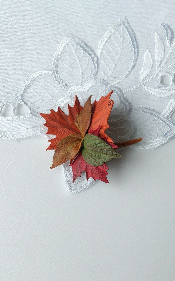 Flower Brooch Natural leather brooch Genuine leather