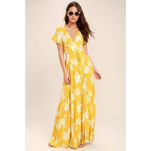 Heart of Marigold Yellow Floral Print Wrap Maxi Dress ($68) ❤ liked on Polyvore featuring dresses, yellow, long maxi skirts, rayon maxi skirt, ruffle maxi skirt, floral print maxi dress and maxi dresses