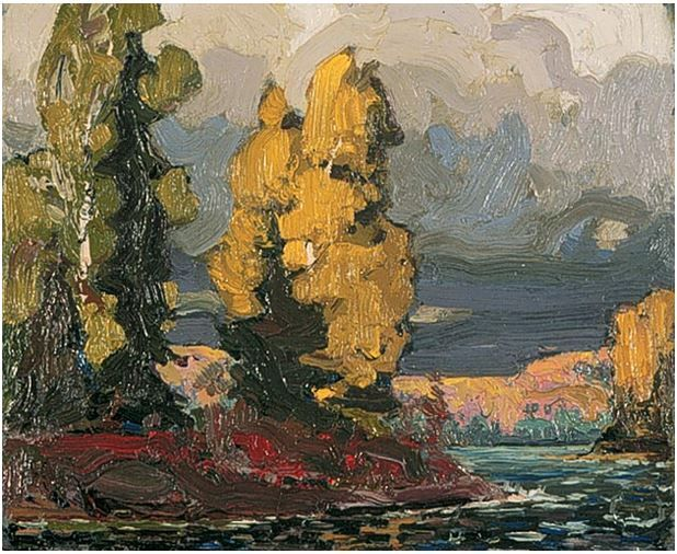 Tom Thomson Catalogue Raisonné | Poplars by a Lake, Summer or fall 1916 (1916.91) | Catalogue entry