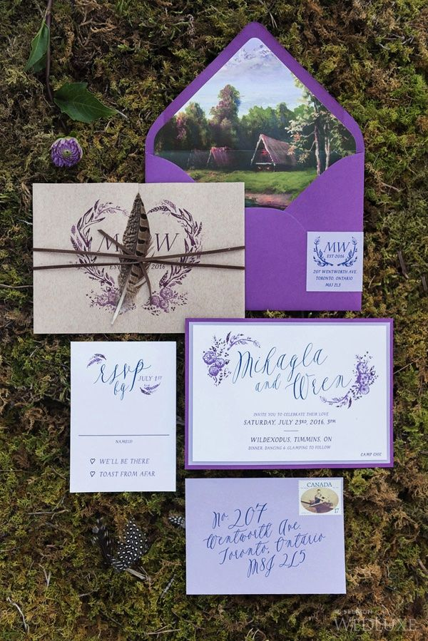 luxury wedding invitations dallas%0A Bright purple stationery for for an outdoor wedding   WedLuxe Magazine