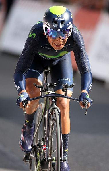 #TDF2016 Nairo Quintana of Colombia and Movistar Team in action during stage 18 of the Tour de France 2016 a time trial of 17km between Sallanches and Megeve...
