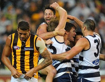 Cats celebrate, Franklin trudges off as Geelong once again down the Hawks in an incredible game.
