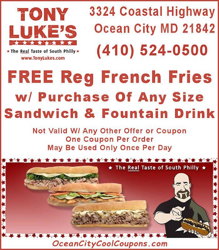 Tony Luke S Ocean City Md Oc Restaurants Ocean City Cool Ocean City Md Ocean City Ocean