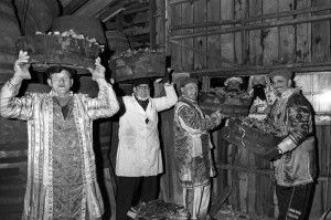Allendale's guisers load up their fiery burdens ready for the highlight of the village's New Year's Eve celebrations. (Edition: January 9, 1976)