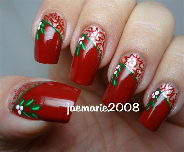 Mistletoe Vintage Nail Design by jaemarie2008 - Nail Art Gallery nailartgallery.nailsmag.com by Nails Magazine www.nailsmag.com #nailart