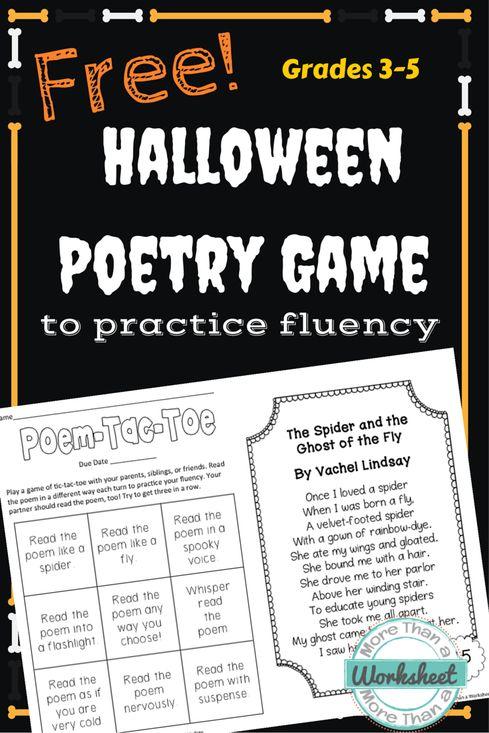 Free Halloween Poetry Game (Grades 3-5)