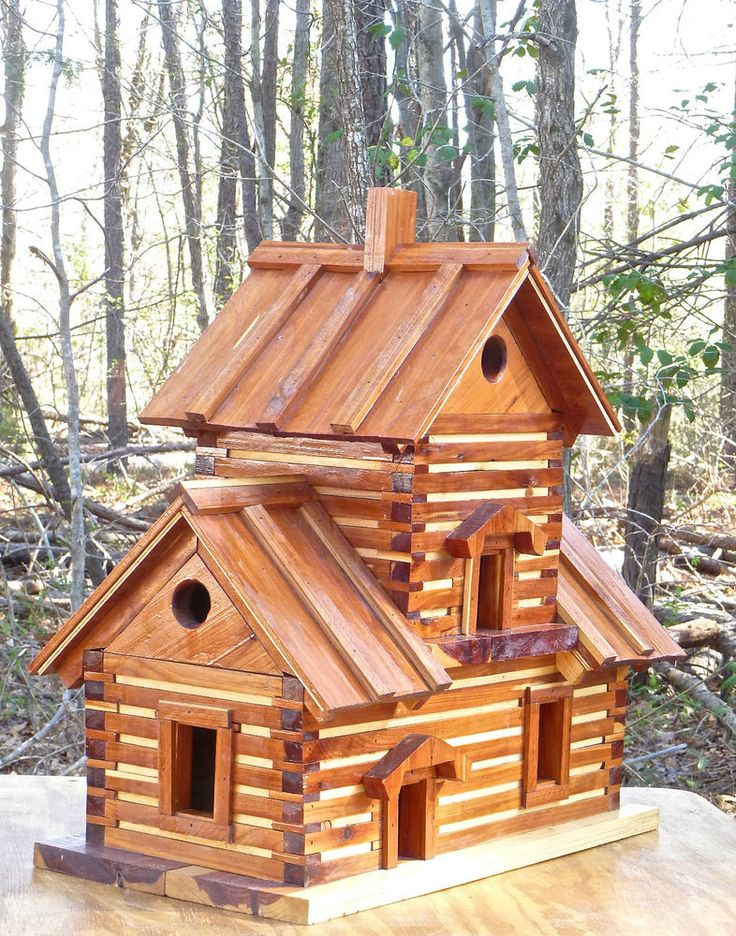 "Huge Cedar Log Cabin BIRDHOUSE Condo < 24"" x 24"" #Handcrafted"