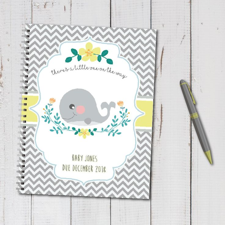 Personalized pregnancy diary with planned pages – Whale, Gray, Yellow, Stripes, Floral …   – Pregnancy Journals