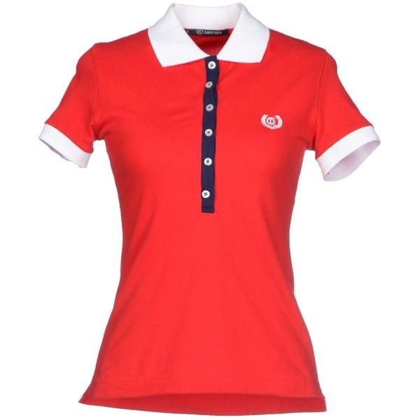 Carpe Diem Polo Shirt ($22) ❤ liked on Polyvore featuring tops, red, red polo shirt, logo top, side slit top, polo shirts and logo polo shirts