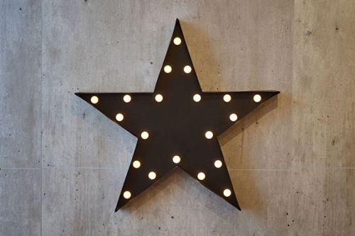 Stjerne i svart med lys.48x46 cmLysskilt