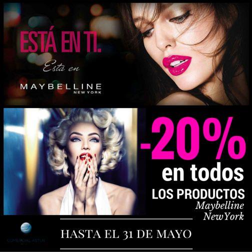 Este mes de Mayo en nuestras tiendas todos los productos Maybelline New York tienen un 20% de descuento#beautycoaspeco